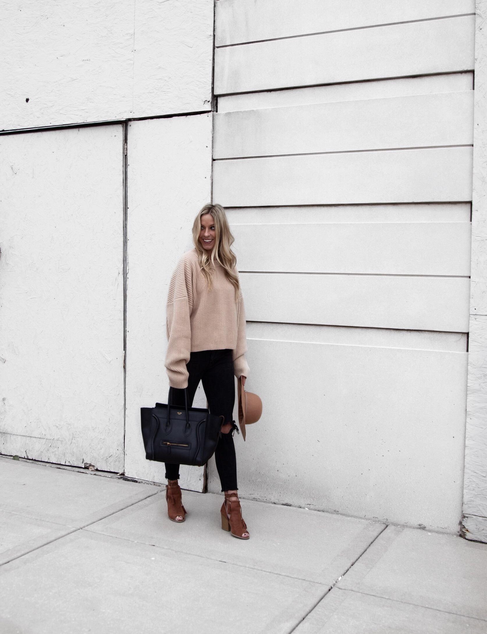 Beige Sweater + Distressed Denim