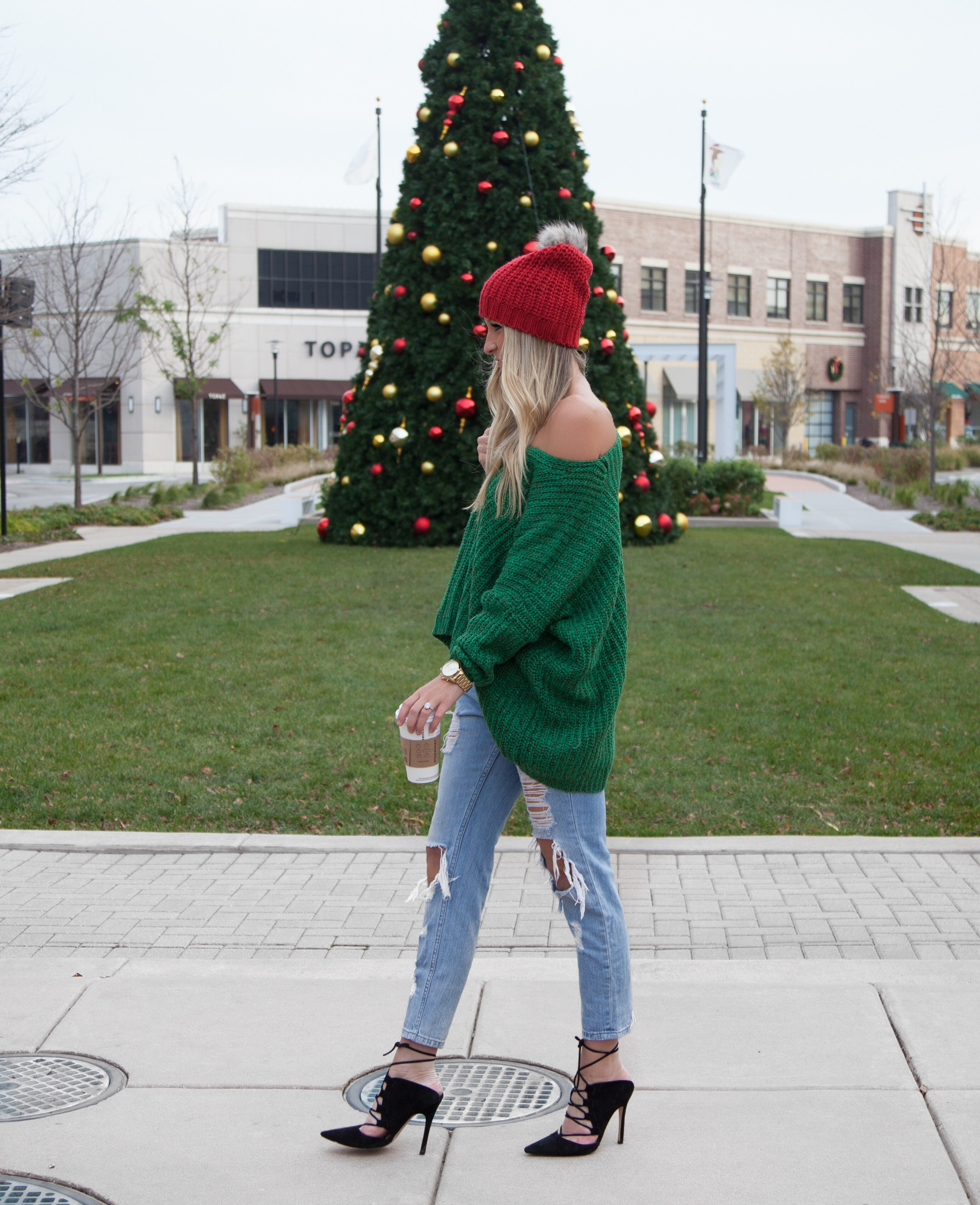 Green Sweater + Red Beanie