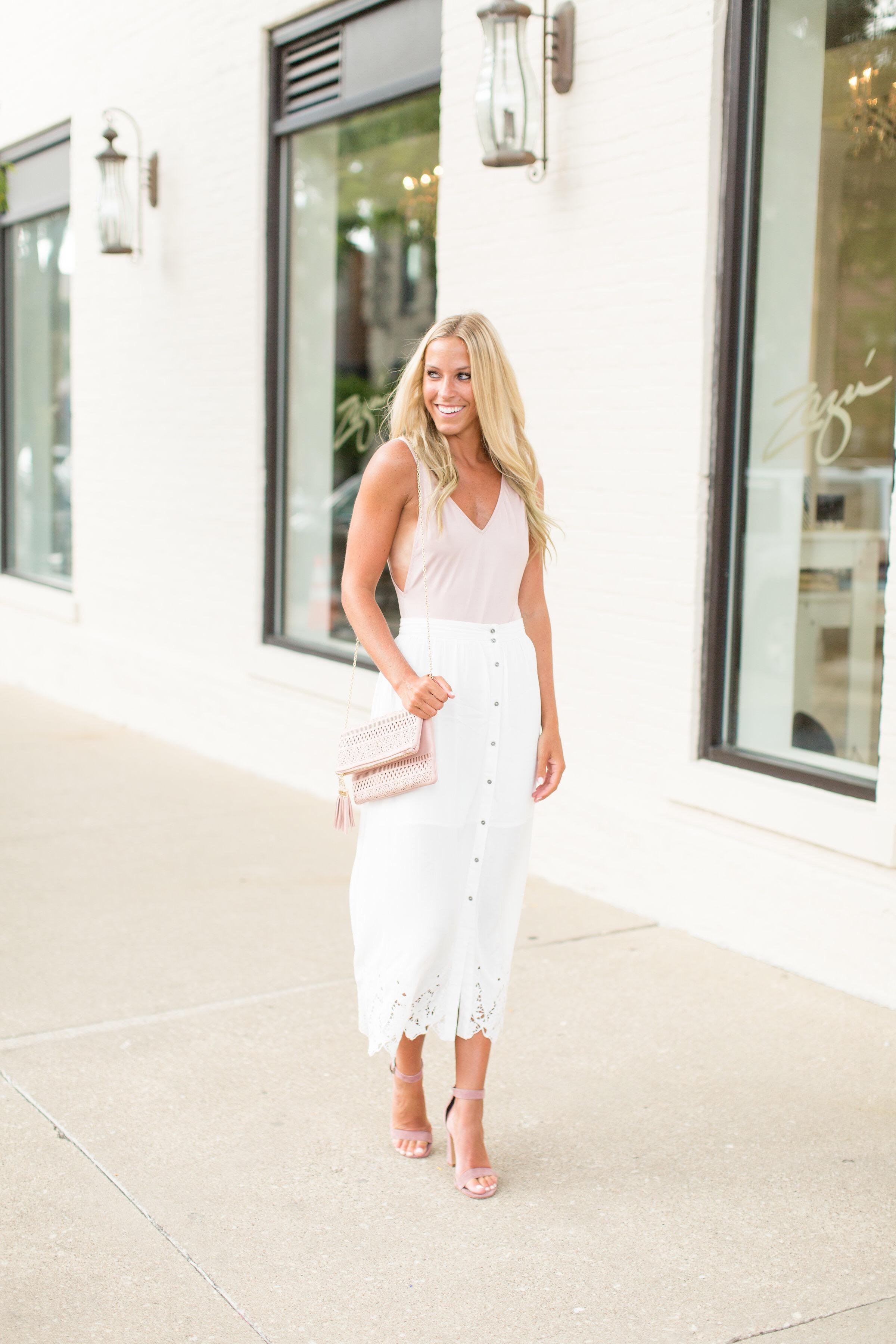 White Laser Cut Skirt
